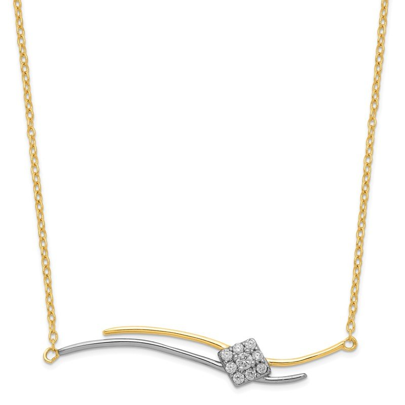 Quality Gold Sterling Silver & Gold-tone CZ Necklace W/1 in ext.