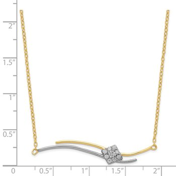 Sterling Silver & Gold-tone CZ Necklace W/1 in ext.