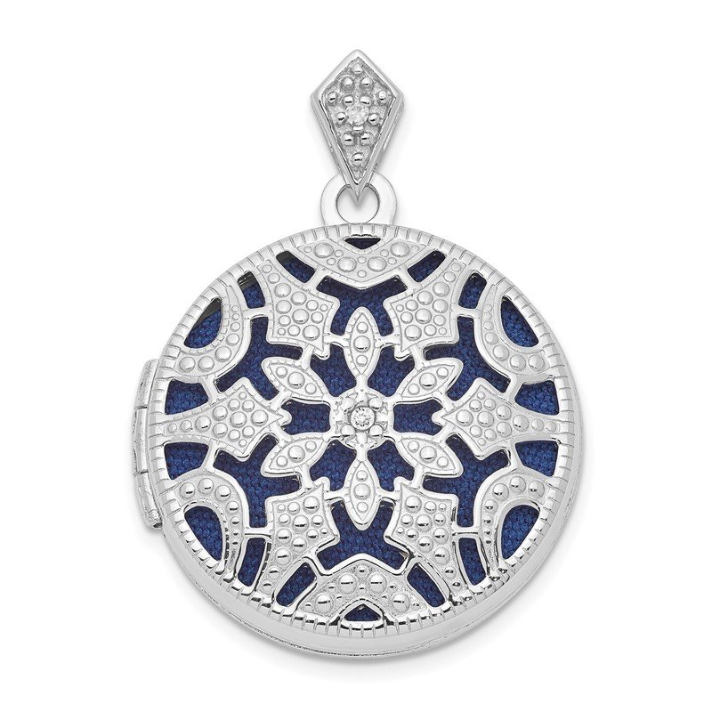 J.F. Kruse Signature Collection Sterling Silver Rhodium-plated 20mm Round w/Diamond Vintage Locket