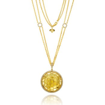 "Honeybee ""B"" Faceted Citrine Circular Medallion P463Y"
