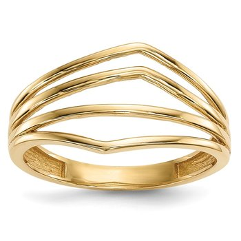14k Gold Polished 4-Bar Ring