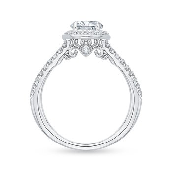 14K White Gold Oval Diamond Halo Engagement Ring with Split Shank (Semi-Mount)