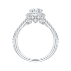Carizza 14K White Gold Oval Diamond Halo Engagement Ring with Split Shank (Semi-Mount)