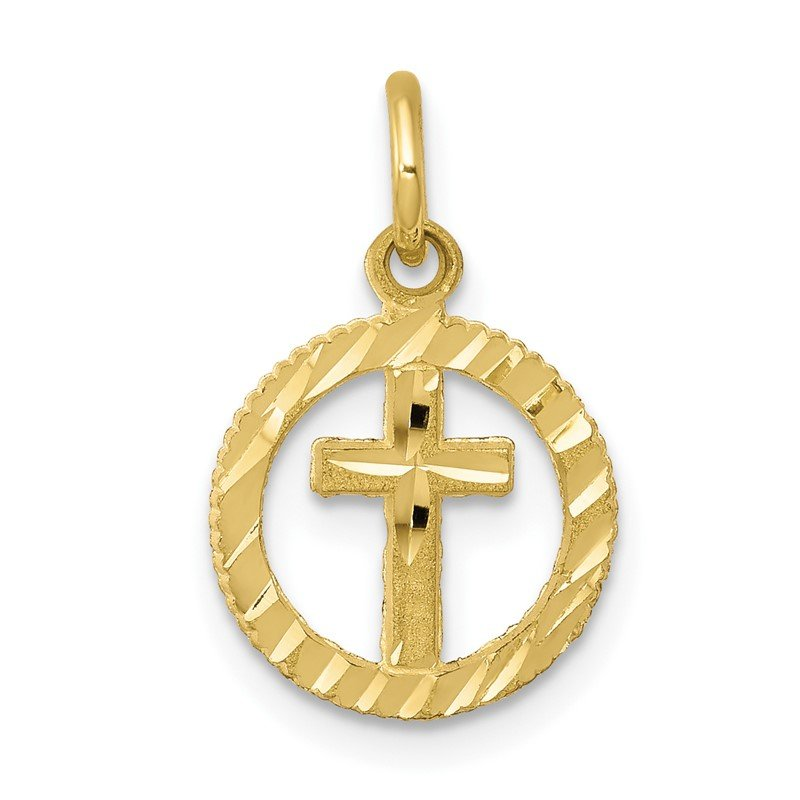 Quality Gold 10k Solid Flat-Backed Cross in Circle for Eternal Life Charm