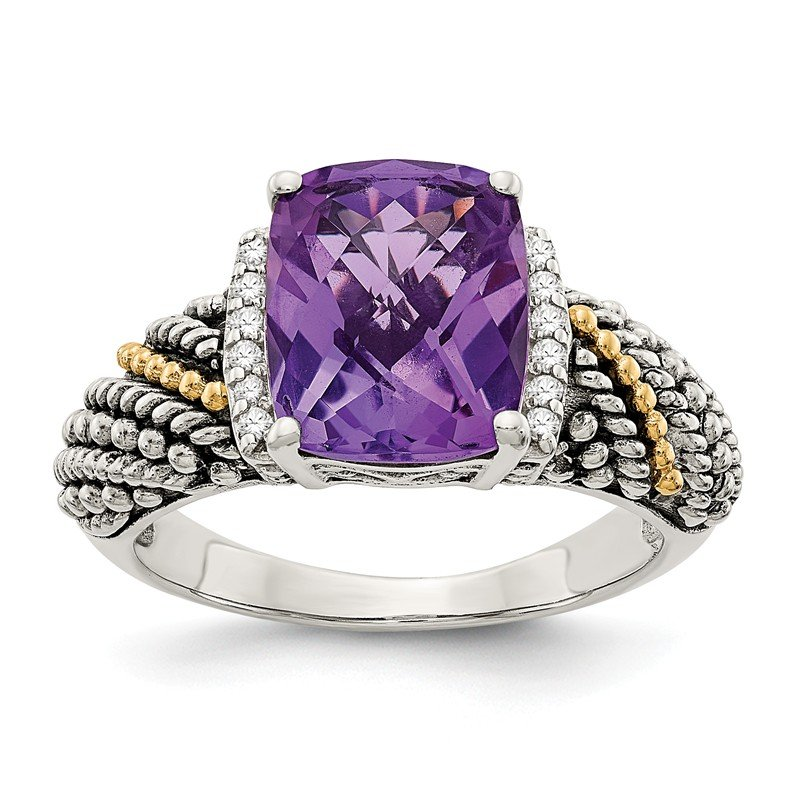 Shey Couture Sterling Silver w/14k Diamond and Amethyst Ring