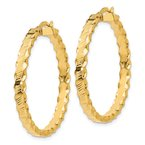 Quality Gold 14K Textured Scalloped Edge Hoop Earrings
