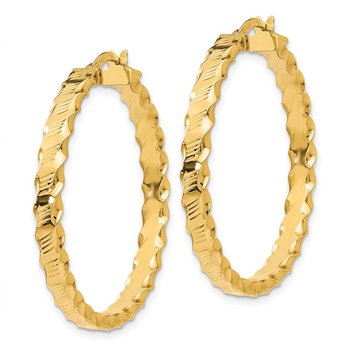 14K Textured Scalloped Edge Hoop Earrings