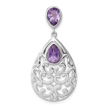 Sterling Silver Rhodium-plated Polished with Amethyst Pendant