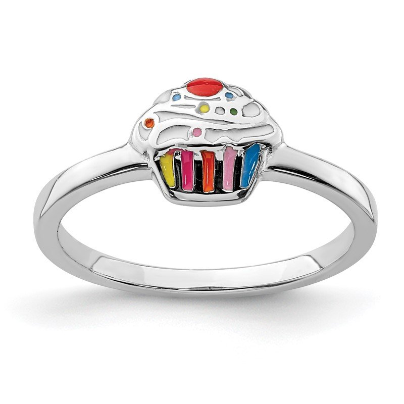 Quality Gold Sterling Silver Rhodium-plated Childs Enameled Cupcake Ring