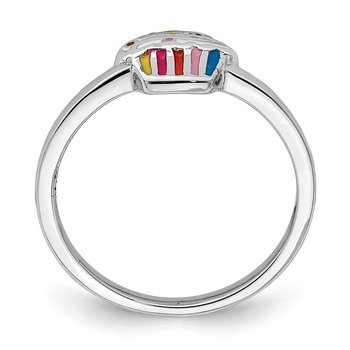 Sterling Silver Rhodium-plated Childs Enameled Cupcake Ring