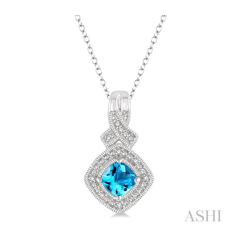 ASHI silver gemstone & diamond pendant