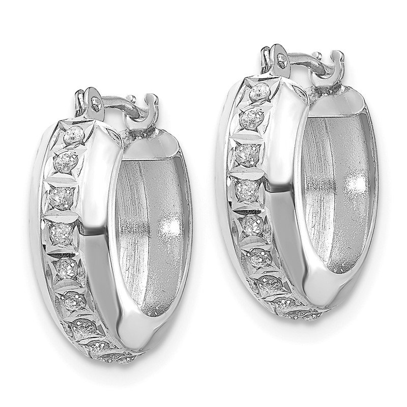 Quality Gold 14k White Gold Diamond Fascination Round Hinged Hoop Earrings