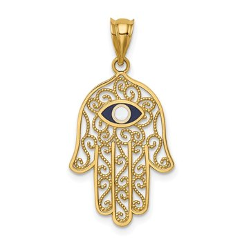 14K Polished and Enameled Hamsa Pendant