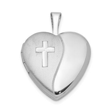 Sterling Silver Rhodium-plated 16mm D/C Cross Heart Locket