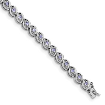 Sterling Silver Rhodium-plated Tanzanite 7.5 IN Bracelet