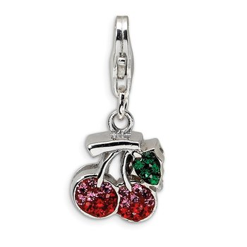 Sterling Silver RH Swarovski Crystals Cherries w/Lobster Clasp Charm