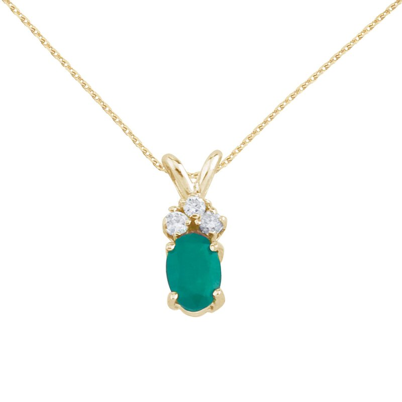 Color Merchants 14K Yellow Gold Oval Emerald Pendant with Diamonds