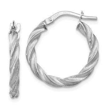 Leslie's 10k White Gold Textured Twisted Hoop Earrings