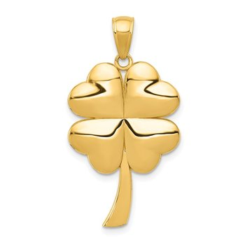 14k Solid Polished 4-Leaf Clover Pendant