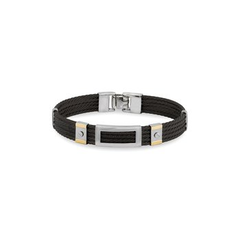 Black Cable Bracelet with Framed Steel Rectangular Station & 18kt Yellow Gold