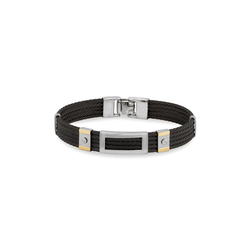 ALOR Black Cable Bracelet with Framed Steel Rectangular Station & 18kt Yellow Gold