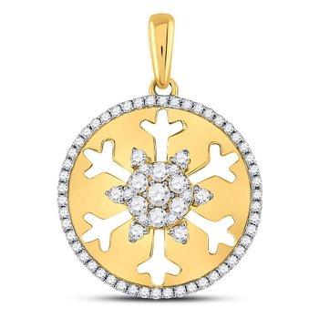 14kt Yellow Gold Womens Round Diamond Snowflake Cutout Circle Pendant 1/2 Cttw