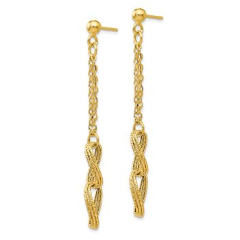 Leslie's 14K Polished and Textured Post Dangle Earrings