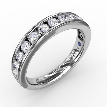 Classic Channel Set Diamond Wedding Band - Diamond Stackable Band