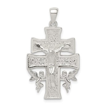 Sterling Silver Polished Mini Caravaca Crucifix Pendant