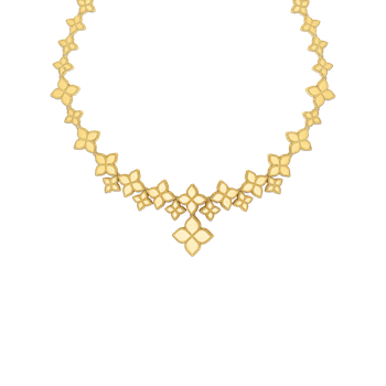 18Kt Gold Link Collar With Drop Flower Pendant