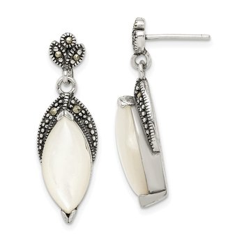 Sterling Silver Mother of Pearl and Marcasite Post Dangle Earrings