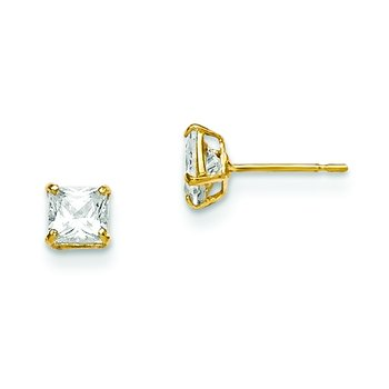 14k Madi K 4mm Square CZ Basket Set Stud Earrings