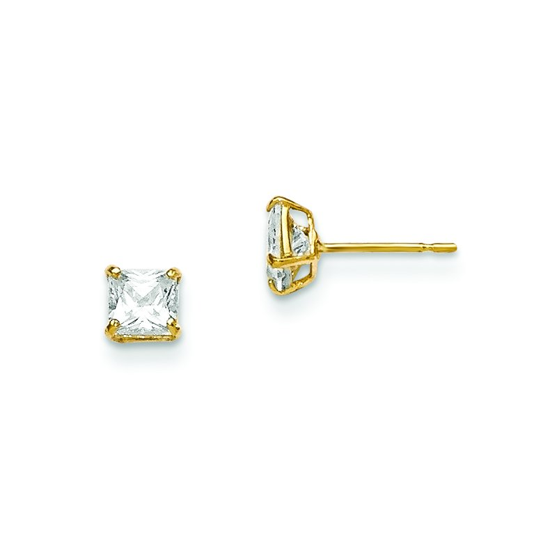 Quality Gold 14k Madi K 4mm Square CZ Basket Set Stud Earrings