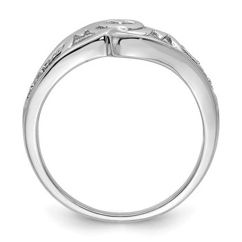 Sterling Silver Rhodium Plated Diamond Heart Mom Ring