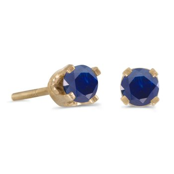 3 mm Petite Round Sapphire Screw-back Stud Earrings in 14k Yellow Gold