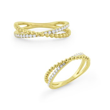 "Diamond & Gold Milgrain ""X"" Ring Set inn 14 Kt. Gold"