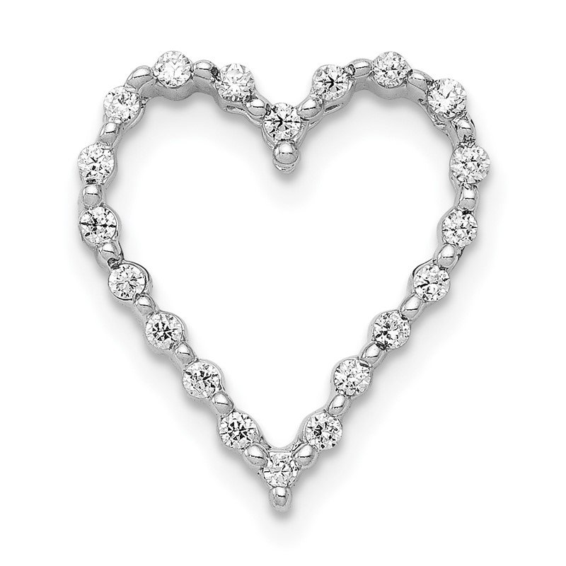 14k White Gold 1/5ct. Diamond Heart Chain Slide