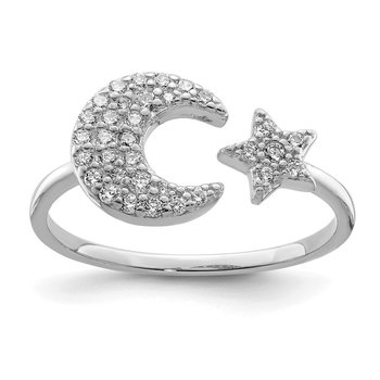 Sterling Silver Rhodium Plated CZ Star & Moon Ring