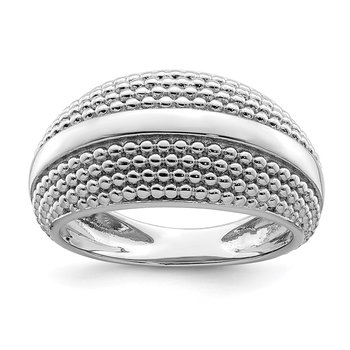 Sterling Silver Rhodium Plated Textured Ring