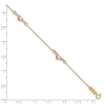 14K Tri-Color Puffed Heart Bracelet