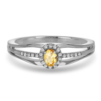 10K WG and diamond and Citrine halo style birthstone ring