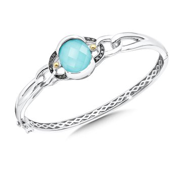 Sterling Silver Turquoise and White Quartz With Diamonds Fusion Bangle