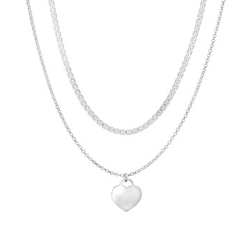 Silver Mariner & Cable Chain Heart Choker Necklace