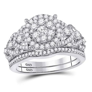 14kt White Gold Womens Round Diamond Vintage-inspired Bridal Wedding Engagement Ring Band Set 1.00 Cttw