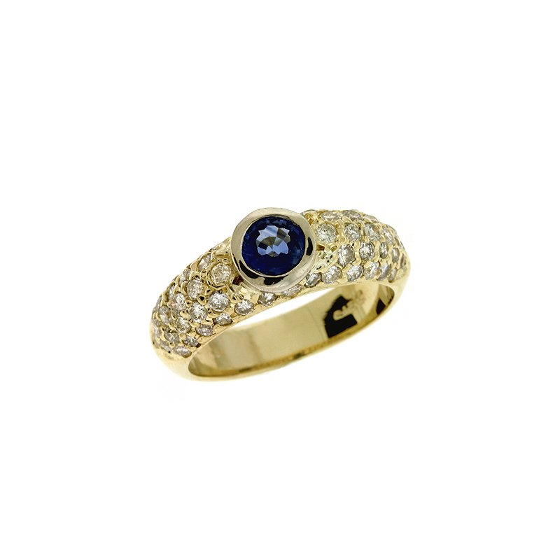 S. Kashi  & Sons Sapp./ Dia Pave Ring