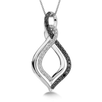 Pave set Black and White Diamond Entwined Drop Pendant, 10k White Gold  (1/4ct. dtw.)