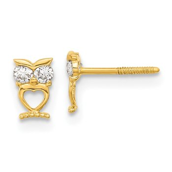 14k Madi K Owl w/CZ Eyes Screwback Post Earrings