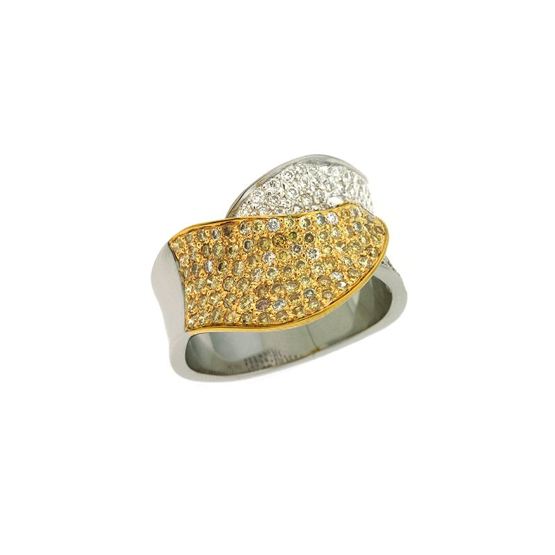 S. Kashi  & Sons White Gold Yellow Diamond Ring