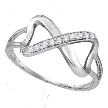Sterling Silver Womens Round Diamond Infinity Fashion Band Ring 1/10 Cttw
