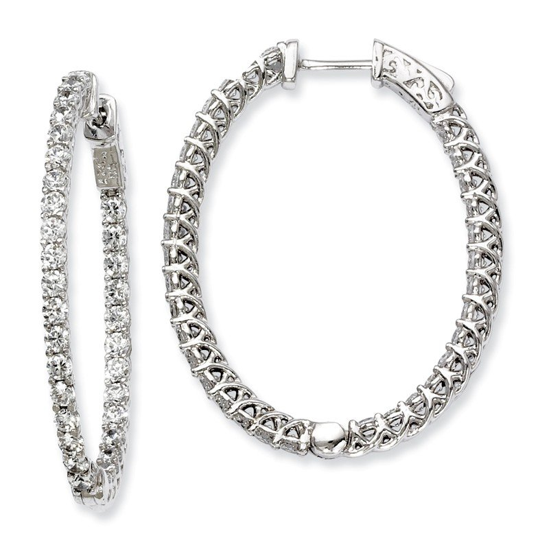 Quality Gold Sterling Silver CZ 66 Stones In and Out Oval Hoop Earrings